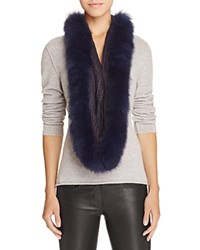 Surell Infinity Loop Scarf With Fox Fur Trim Navy Navy