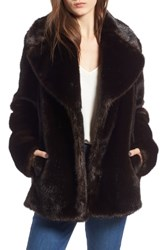 Kendall Kylie Faux Fur Jacket Brown