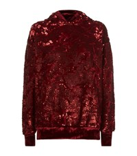 Forte Couture Velvet Trim Sequin Hoodie Red