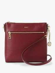 Dkny Bryant Leather Zip Top Cross Body Bag Blood Red