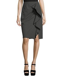 Nanette Lepore Carley Pencil Skirt W Ruffled Frill Charcoal