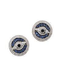 Judith Ripka Sterling Silver Evil Eye Stud Earrings With Blue White And Black Sapphire Blue White