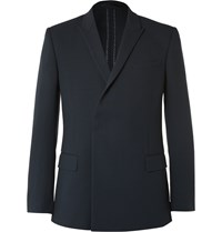 Kilgour Navy Double Breasted Wool Crepe Blazer Blue