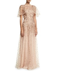 David Meister Wing Sleeve Embroidered Lace Gown Rose Gold