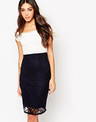 Wal G Lace Bodycon Midi Dress Creamnavy