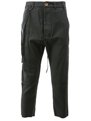 Song For The Mute Cargo Cropped Trousers Cotton Carbon Black