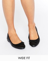 New Look Wide Fit Leather Ballet Pump Black