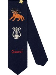 Gucci Wool Tie With Embroidery Blue