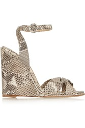 Paul Andrew Wisteria Python Wedge Sandals Animal Print