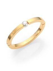 Chlo Darcey Faux Pearl Bangle Bracelet Gold Pearl