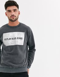 Replay Logo Print Sweatshirt Black