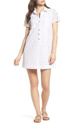 Lilly Pulitzer Nelle Lace Shirtdress Resort White Pop Floral Lace