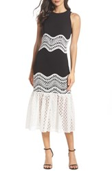 Harlyn Lace Mix Tea Length Dress Black White