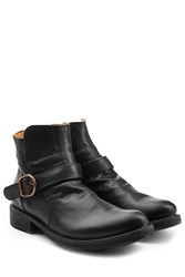 Fiorentini Baker And Leather Buckle Strap Ankle Boots Black