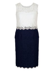 Chesca Scallop Trim Layered Lace Dress Navy