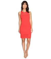 Michael Michael Kors Mesh Stitch Tank Sweater Dress Coral Reef Women's Dress Red