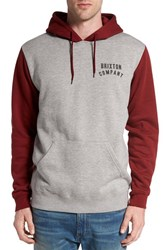 Brixton Men's 'Woodburn' Colorblock Hoodie Heather Grey Burgundy