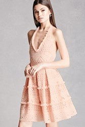 Forever 21 Crochet Tiered Halter Dress Peach