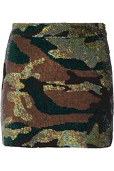 Ashish Camouflage Sequined Silk Georgette Mini Skirt Green