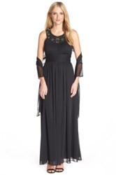 Patra Beaded Mesh Fit And Flare Gown With Shawl Black