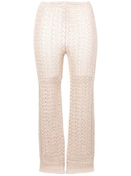 Alberta Ferretti Cropped Knitted Trousers Neutrals