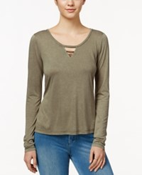 Miss Me Long Sleeve Lattice Detail Top Olive Green