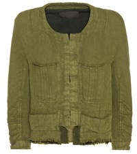 Haider Ackermann Cotton And Linen Cropped Jacket Green