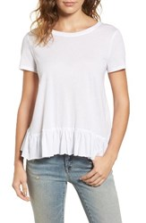 Hinge Women's Cross Back Ruffle Tee White