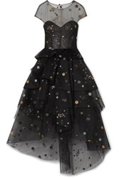 Monique Lhuillier Asymmetric Tiered Glittered Tulle Midi Dress Black