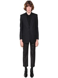Saint Laurent Striped Wool Jacket Black