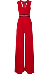 Just Cavalli Cutout Stretch Jersey Jumpsuit Red