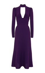 Rasario Cut Out Front Long Sleeve Midi Dress Purple