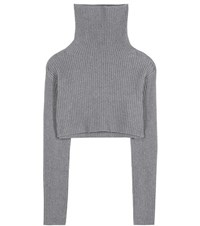 Valentino Cropped Wool And Cashmere Turtleneck Sweater Grey