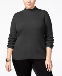 Karen Scott Plus Size Mock Neck Sweater Only At Macy's Charcoal Heather