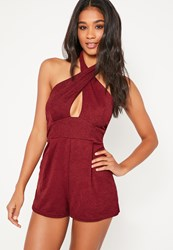 Missguided Burgundy Cross Front Playsuit
