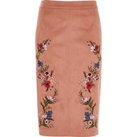 River Island Pink Faux Suede Floral Pencil Skirt