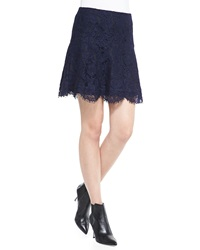 Cusp By Neiman Marcus Two Tone Lace Miniskirt Navy