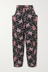 Isabel Marant Gubaia Cropped High Rise Floral Print Tapered Jeans Charcoal