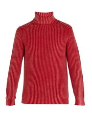 Iris Von Arnim Newton Stonewashed Ribbed Knit Cashmere Sweater Red