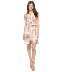 Adelyn Rae Printed Fit And Flare Dress Ivory Light Pink Women's Dress