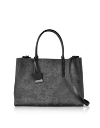 Alviero Martini 1A Classe Handbags Medium Geo Black Coated Canvas Tote