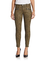 Current Elliott Sohozi Animal Print Skinny Zip Jeans Army Green