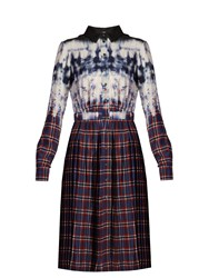 Altuzarra Maria Tie Dye And Check Print Shirtdress Blue Multi