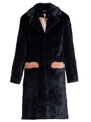 Shrimps Claude Faux Fur Coat Navy