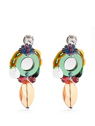 Miu Miu Flower Drop Clip On Earrings Multi