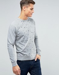Esprit Sweat With Raglan Sleeve And All Over Print Detail Grey 030