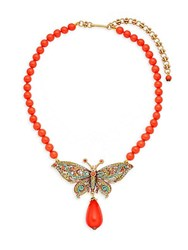 Heidi Daus Multicolored Crystal Butterfly Pendant Necklace Bronze Tone