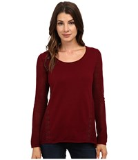 Lucky Brand Inset Lace Tunic Mixed Berry Women's Blouse White