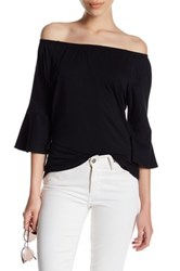 Workshop Boatneck Bell Sleeve Shirt Petite Black