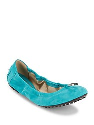 Tod's Dee Laccetto Suede Ballet Flats Blue